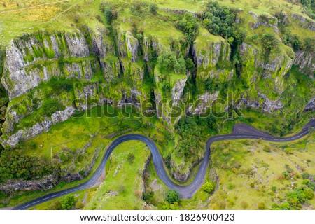 Aerial shot of Cheddar Gorge, Mendip Hills, England.
