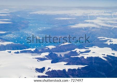Aerial shot of eastern Greenland