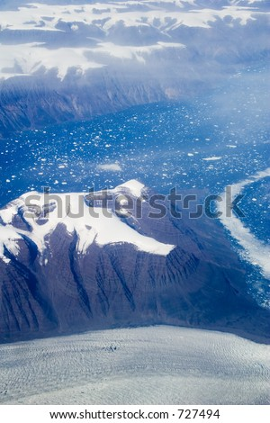 Aerial shot of eastern Greenland - soft focus