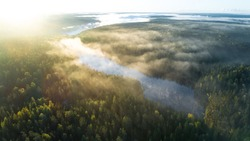 Aerial shot of foggy autumn morning at lake. Beautiful forest and sun rays.