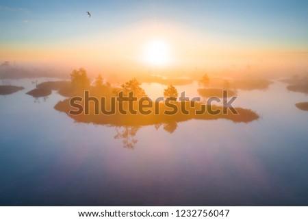 Aerial shot of foggy morning at Yelnya swamp, Belarus
