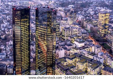 Aerial shot of Frankfurt. High resolution aerial panoramic view of Frankfurt am Main, Germany at dusk. beautiful sunset over the metropolis, Financial Center of Europe - Frankfurt am Main. hdr shoot