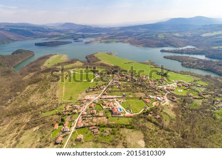 Aerial shot of gorgeous landscape in Rayuvtsi village, Bulgaria. The scene is situated in Rayuvtsi village near Elena, Bulgaria (Eastern Europe) during day Stok fotoğraf ©