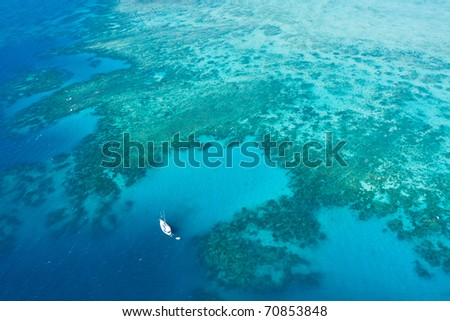 Aerial shot of Great Barrier Reef, Queensland, Australia - stock photo