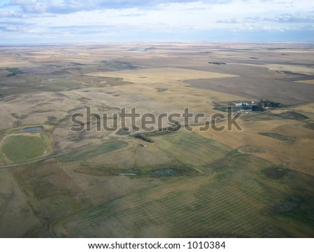 aerial shot of isolation between farms in Saskatchewan