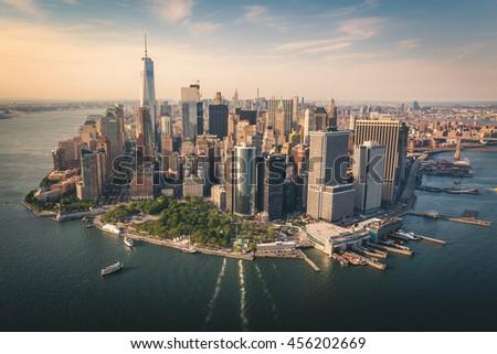 Aerial shot of Lower Manhattan #456202669