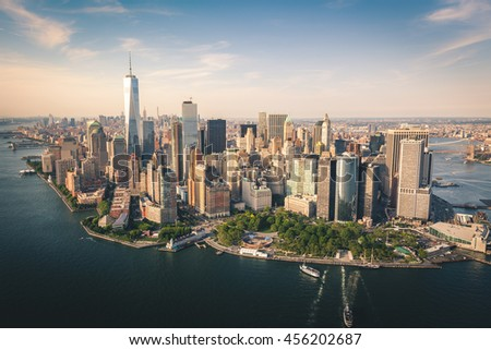 Aerial shot of Lower Manhattan #456202687