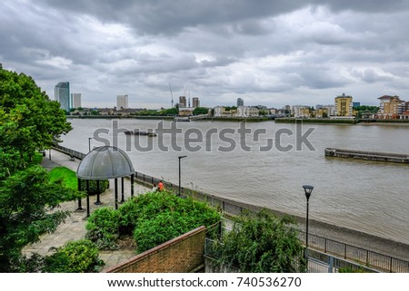 Aerial shot of McDougal Gardens, River Thames and footpath.  Shot taken on an overcast afternoon.