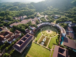 Aerial shot of most beautiful public university in Thailand, Mae Fah Luang University