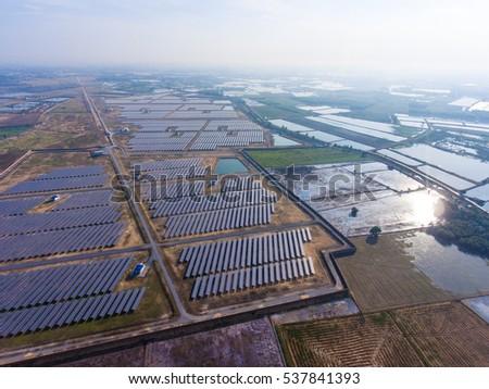 Aerial Shot of Photovoltaics Solar Farm in Rural Area #537841393