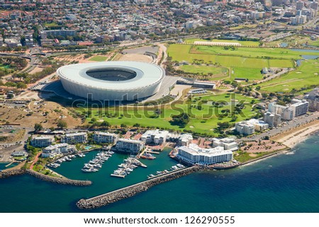 Aerial shot of public sport stadium near to Indian Ocean in Cape Town, South Africa