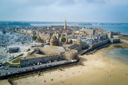 Aerial shot of Saint Malo, Brittany, France