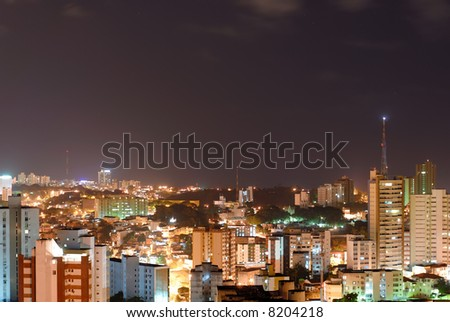 Aerial Shot of Salvador - Brazil at Night .