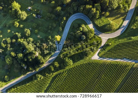 aerial shot of some road serpentines in Schnait, valley Remstal in Germany