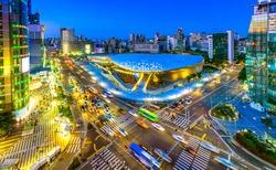 Aerial shot  of the Dongdaemun Design Plaza  (DDP) at night, Seoul,South Korea.