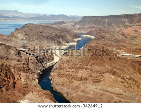 Aerial shot of the Hoover Dam. Glen Canyon Dam on the Colorado River and Lake Powell. Nevada, USA. Famous landmark.