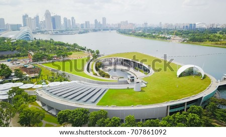 Aerial shot of the Marina Barrage during sunny day, Singapore