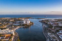 Aerial shot of the Ozama River in the port of Santo Domingo, Dominican Republic