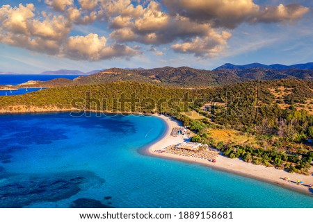 Aerial shot of Tuerredda beach on a beautiful day, Sardinia, Italy. Aerial drone view of Tuerredda in Sardegna. Famous Tuerredda beach on the south of Sardinia near Teulada. Sardinia, Italy. Stockfoto ©