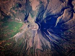 Aerial shot one of volcanoes in Kamchatka