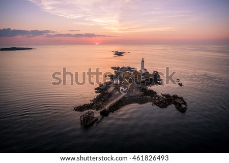Aerial shot Sunrise Boston lighthouse ocean island #461826493