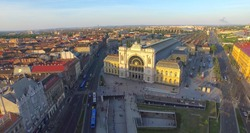 Aerial shot. The  main train station in Hungary - Budapest Keleti Train Station..