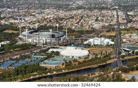 Aerial shot three stadium in Melbourne.