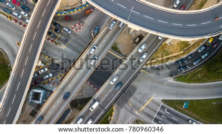 Aerial  shot,view from the drone on the road junction of Kuala-Lumpur,Malaysia #780960346