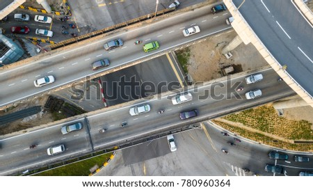 Aerial  shot,view from the drone on the road junction of Kuala-Lumpur,Malaysia #780960364