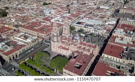 Aerial Shots of Michoacan Morelia Historic District #1150470707