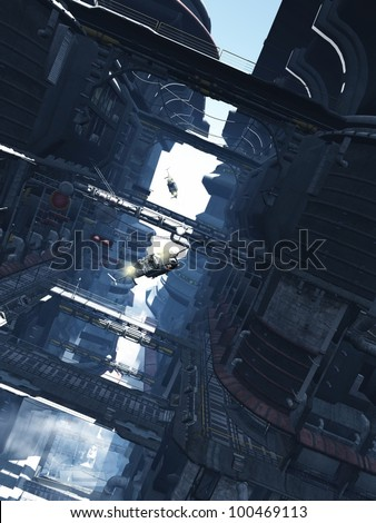 Aerial shuttlecraft chase through the tower blocks of a futuristic sci-fi city, 3d digitally rendered illustration