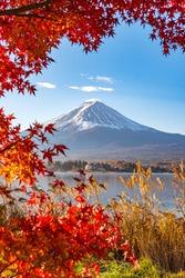 Aerial Skyline Landscape of Fuji Mountain with Beautiful Autumn Leaves. Iconic and Symbolic Mountain of Japan. Scenic Sunset Landscape of Fujisan at Evening Time, Kawaguchiko, Yamanashi, Japan.