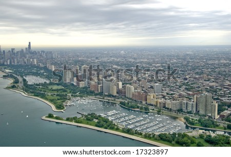 Aerial skyline shot of Chicago on a cloudy day - stock photo