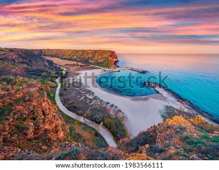 Aerial spring seascape of Black sea. Splendid sunrise on Bolata beach.in Bulgaria, Europe. Beauty of nature concept background. Foto stock ©