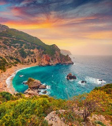 Aerial spring view of Gyali beach. Splendid morning seascape of Ionian Sea. Spectacular sunrise on Corfu island, Greece, Europe. Beauty of nature concept background.