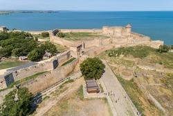 Aerial summer daytime view of Akkerman fortress in Bilhorod-Dnistrovsky, Odessa region, Ukraine, 2021. Travel destinations in Ukraine