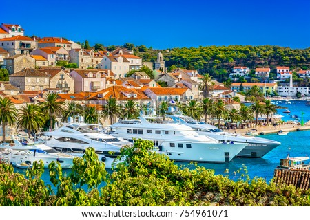 Shutterstock Aerial summer view at famous travel destination in Croatia, Hvar town scenery. / Selective focus.