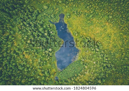 Aerial summer view of a Finland shaped lake in Finnish Lapland Stockfoto ©