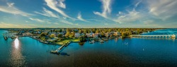 Aerial summer view of colonial Chestertown on the Chesapeake Bay in Maryland USA