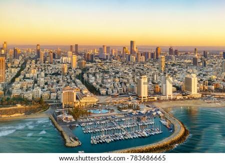 Aerial  sun set view of Mediterranean Seashore of Tel Aviv,  Israel.