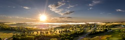 Aerial Sunrise Panoramic Cloudscape in the Midwest town of Mitchell, South Dakota.
