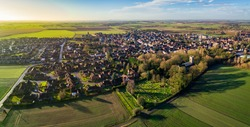 Aerial Sunrise View of Epworth, North Lincolnshire.