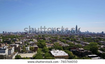 Aerial sunset view of Willis Tower from high elevation overlooking Downtown District Chicago, Illinois, USA, shot on RED EPIC stock photo