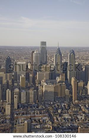 Aerial sunset views of Philadelphia, Pennsylvania