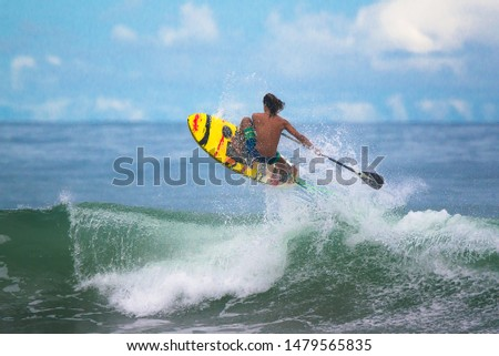 Aerial Surf Paddle. Costa Rica Surfing paradise #1479565835