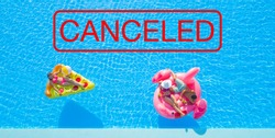 AERIAL, TOP DOWN: All hotel pool events are cancelled because of a coronavirus epidemic. Carefree tourists lie on their trendy floaties and enjoy a beautiful summer day. Cancelled summer pool parties.