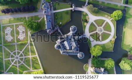 Aerial top down picture De Haar Castle in Dutch Kasteel de Haar is located in Utrecht Netherlands near village of Haarzuilens the current buildings all built upon the original castle date from 1892