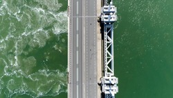 Aerial top down picture Eastern Scheldt storm surge barrier in Dutch Oosterscheldekering the largest of 13 ambitious Delta Works series of dams and storm surge barriers designed to protect Netherlands