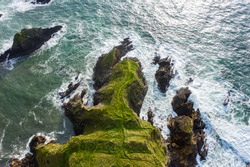 Aerial top down view, Irish coastline of Co Kerry, Wild Atlantic Way.