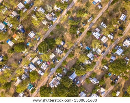 Aerial top down view of campsite on the mediteranean cote d'azur coast near Cannes, France #1388851688